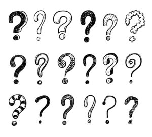 A series of black and white question marks