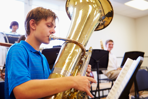 Freshman boy playing tuba