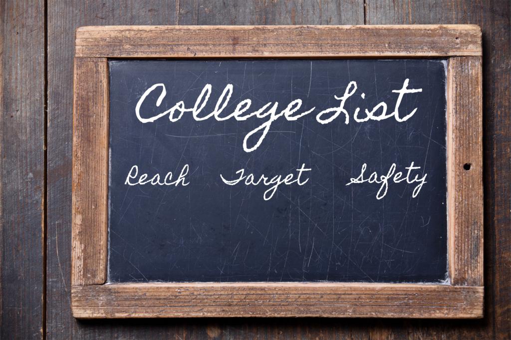 Target college list on a blackboard